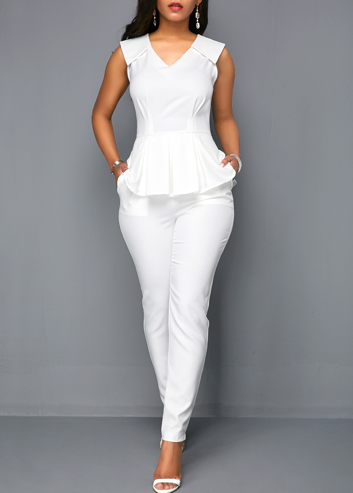 ROTITA V Neck Sleeveless White Peplum Jumpsuit