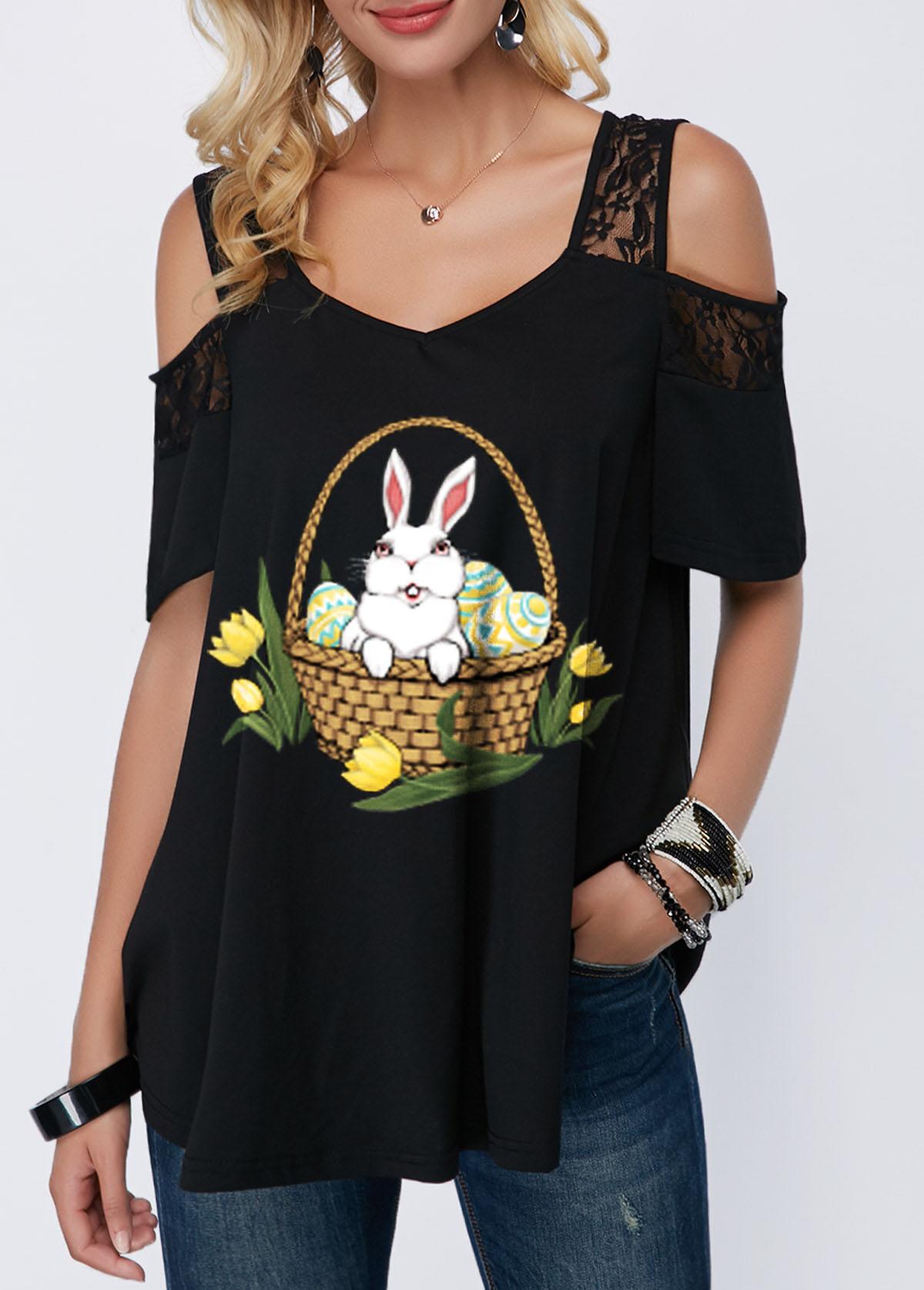 Lace Panel Easter Rabbit Print Cold Shoulder T Shirt