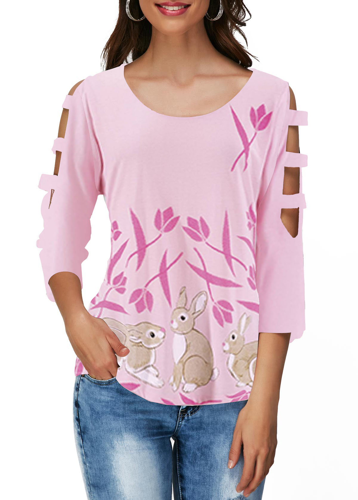 Cutout Sleeve Easter Rabbit Print Light Pink T Shirt