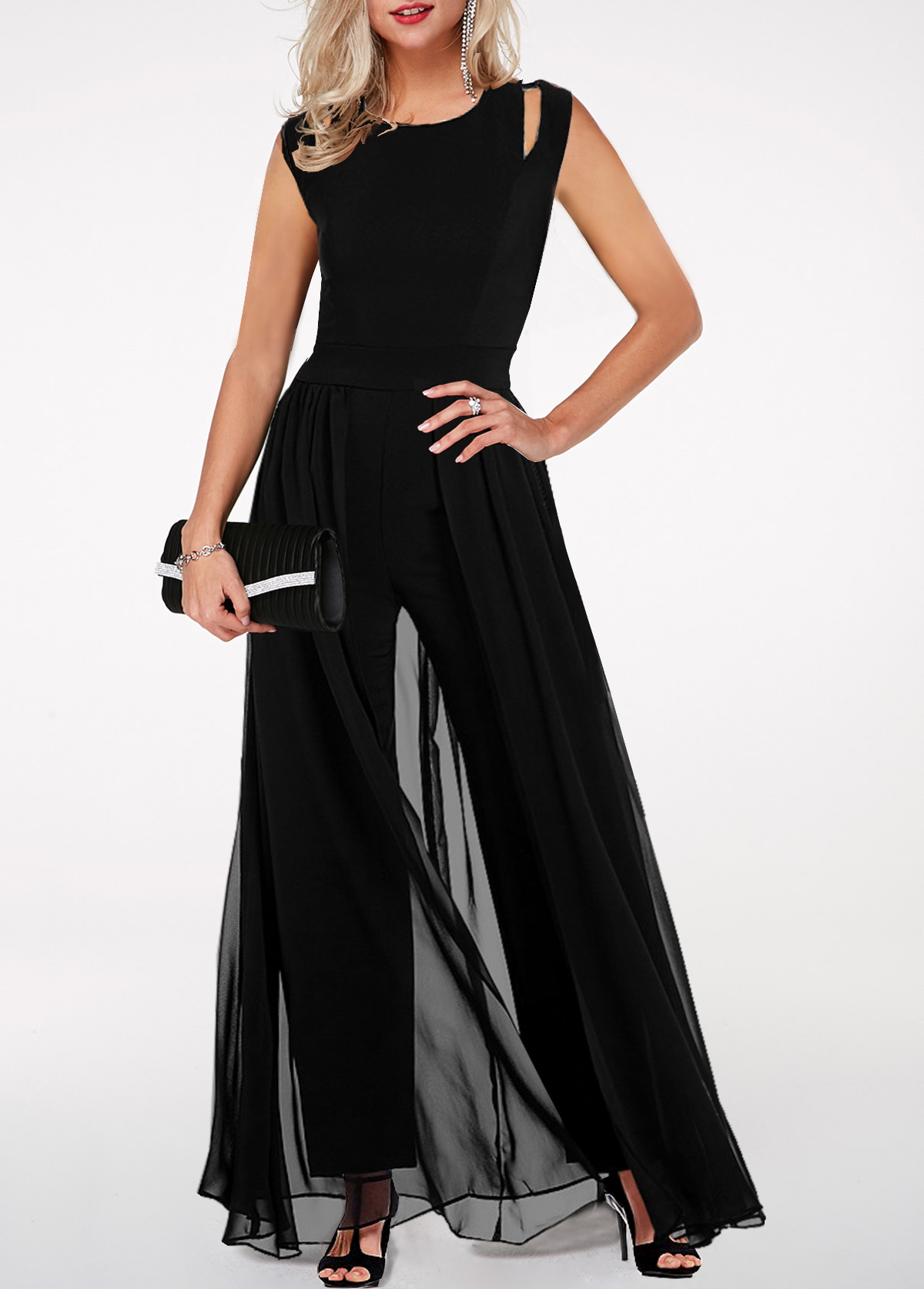 High Waist Round Neck Chiffon Overlay Black Jumpsuit