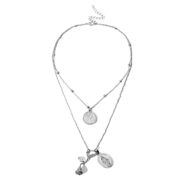 Coin Pendant Silver Metal Layered Necklace