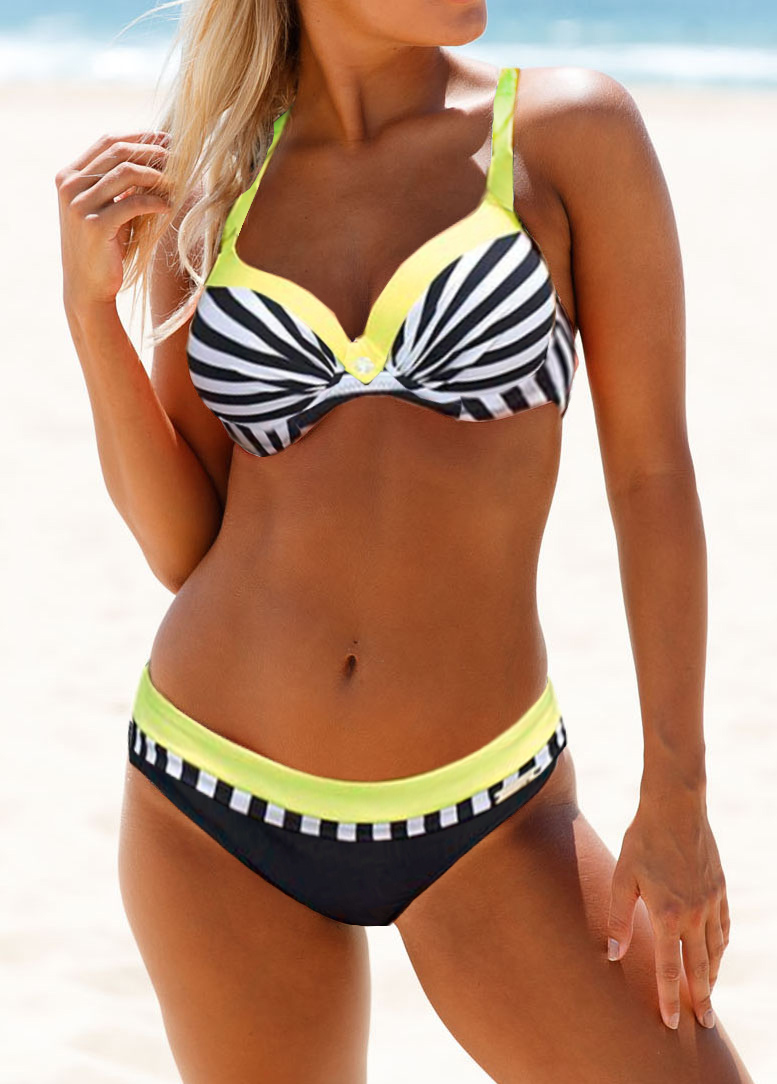 Padded Criss Cross Back Striped Bikini Set