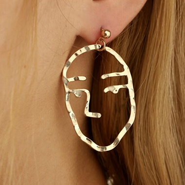 Metal Gold Facial Contour Silhouette Earrings