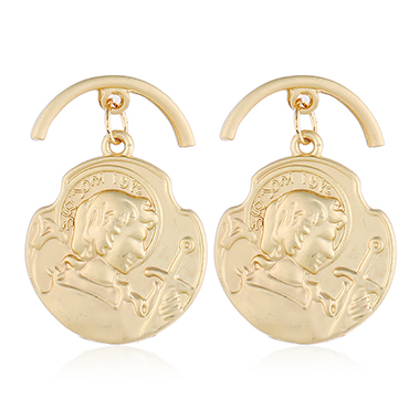 Classic Style Gold Metal Raised Relief Earrings