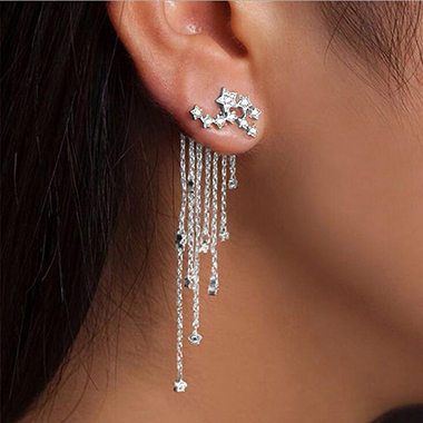Rhinestone Embellished Chain Tassel Silver Earrings