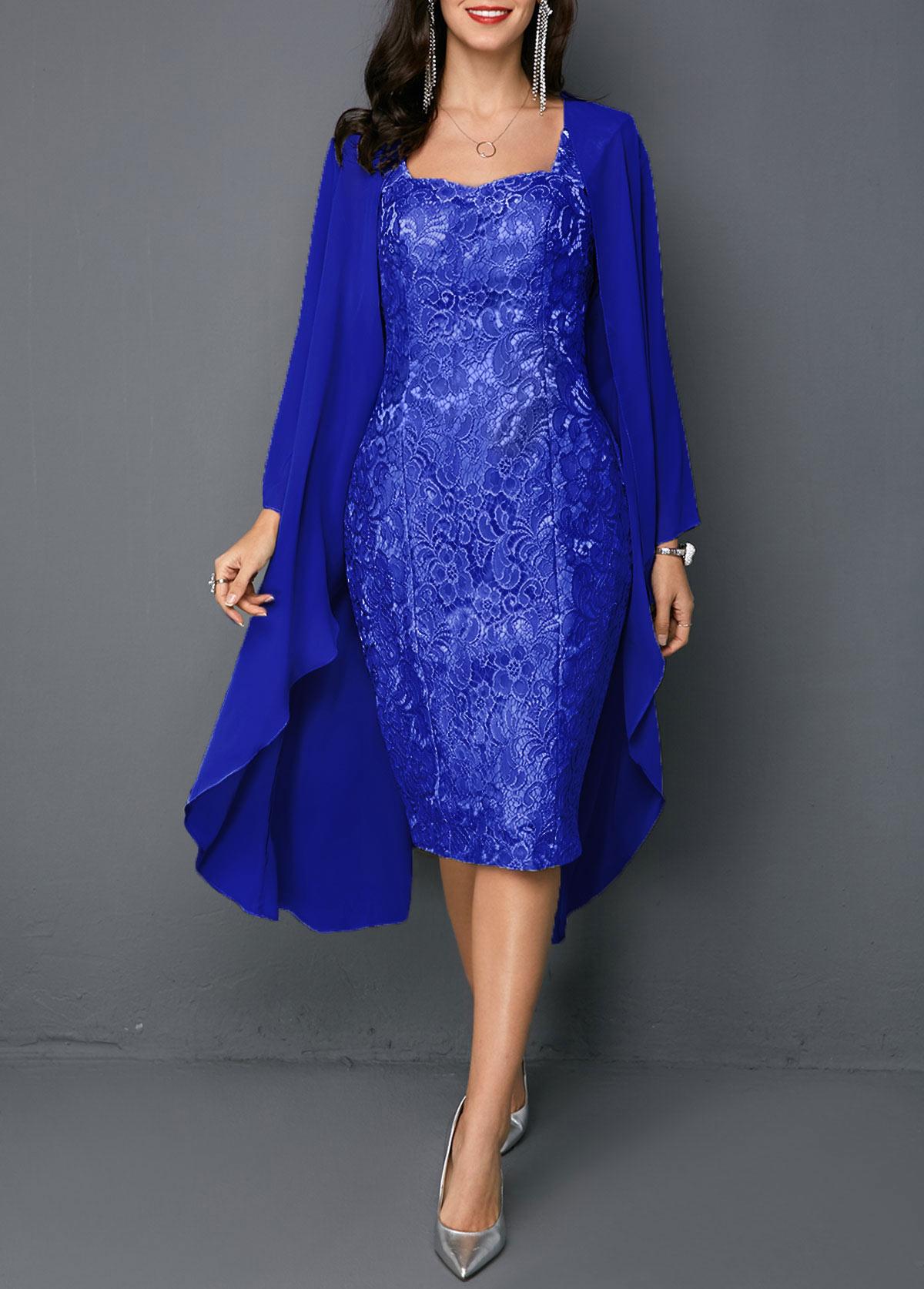 Open Front Top and Lace Sheath Dress
