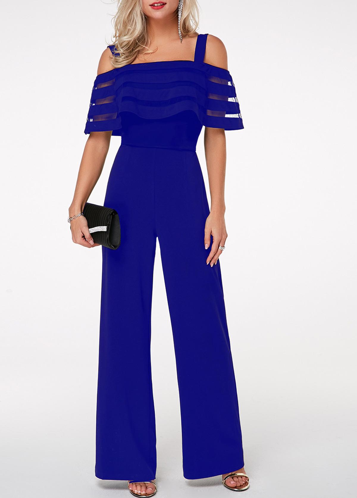 Blue Dressy Plus Jumpsuit: Royal Blue Strappy Cold Shoulder Overlay Jumpsuit