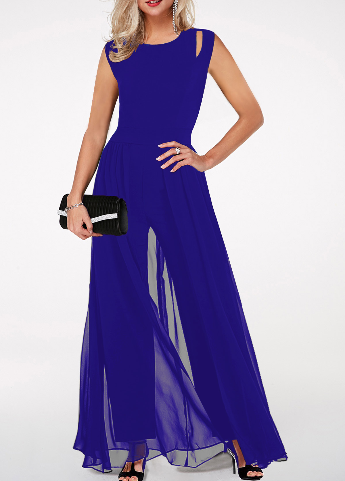 High Waist Round Neck Royal Blue Jumpsuit