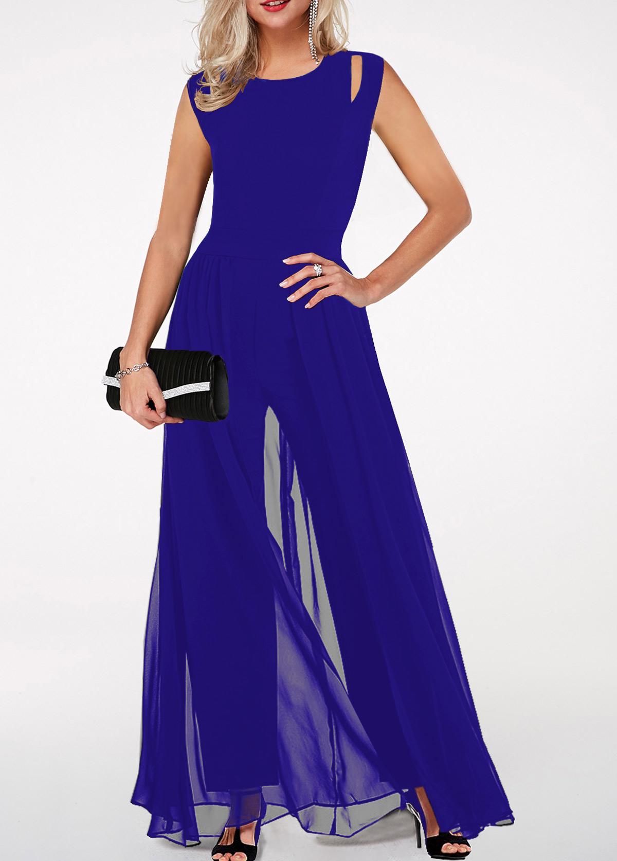 ROTITA High Waist Round Neck Royal Blue Jumpsuit