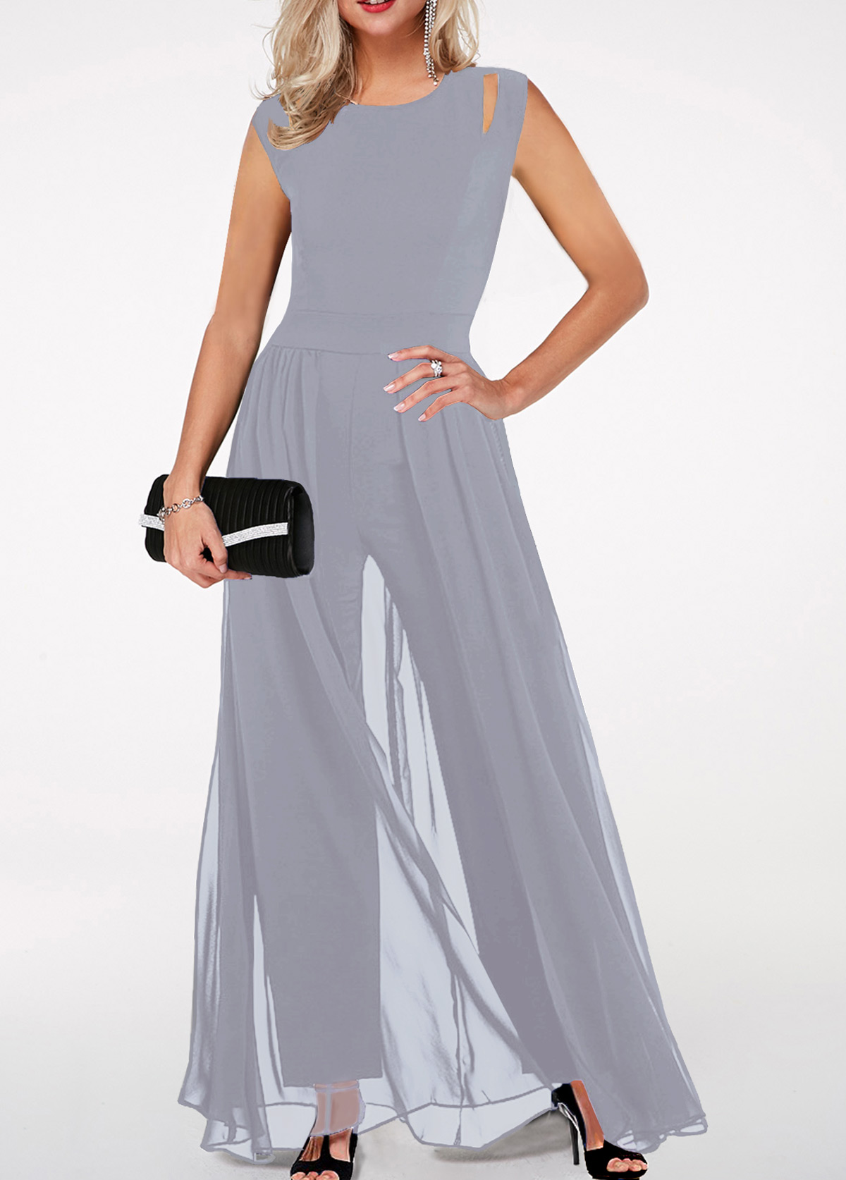 High Waist Round Neck Light Grey Jumpsuit