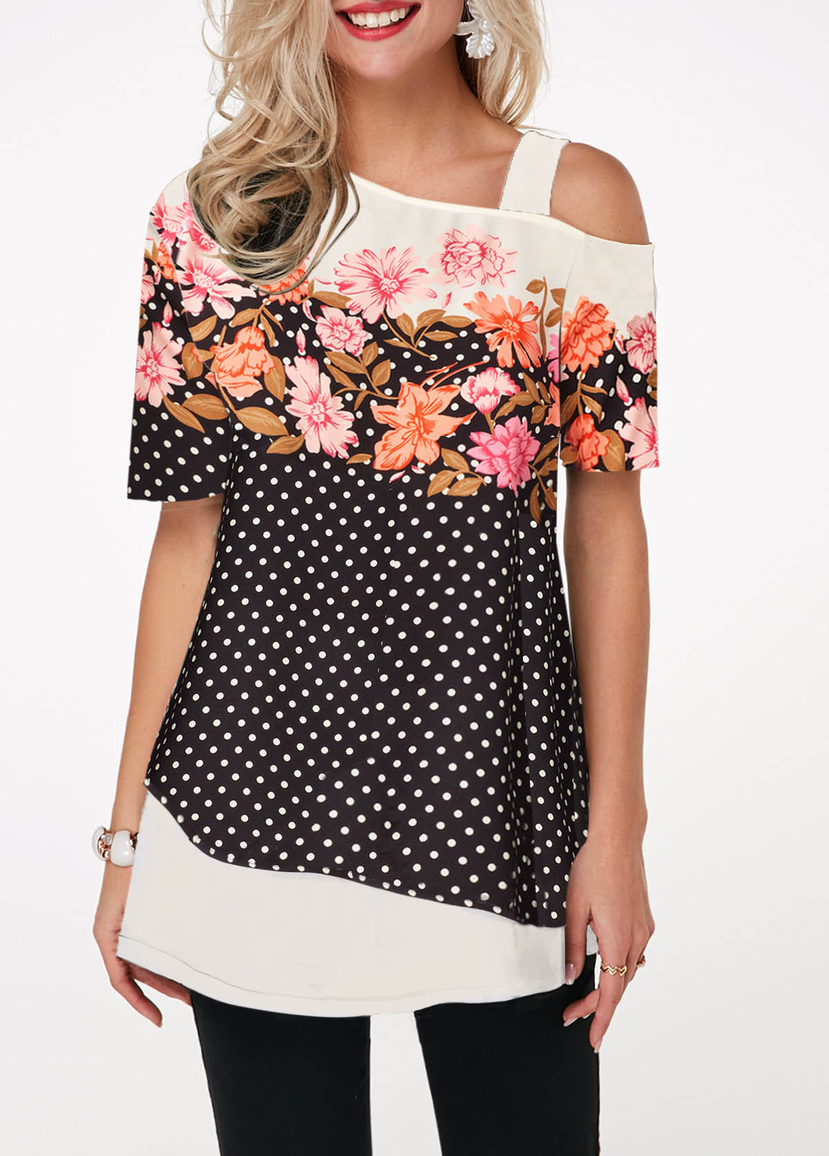 ROTITA Cold Shoulder Flower and Dot Print T Shirt