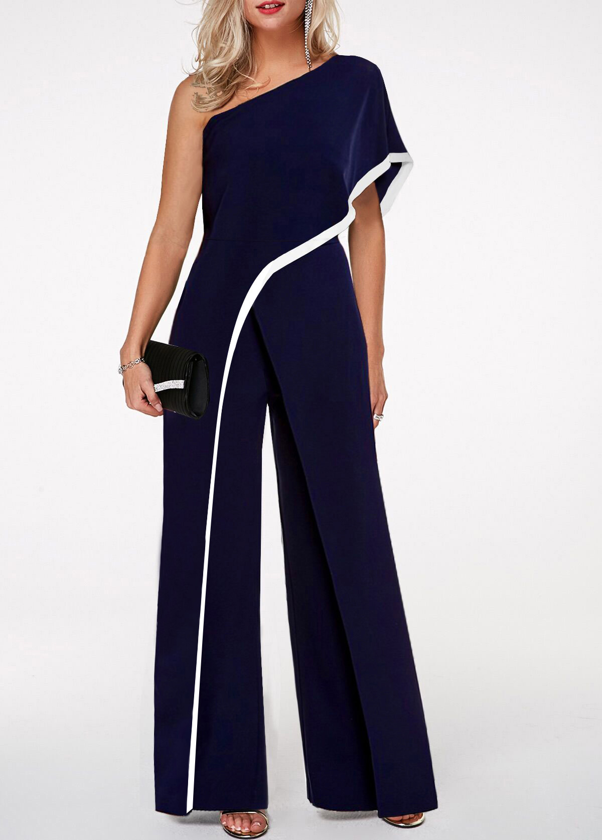 One Shoulder Contrast Trim Navy Blue Jumpsuit