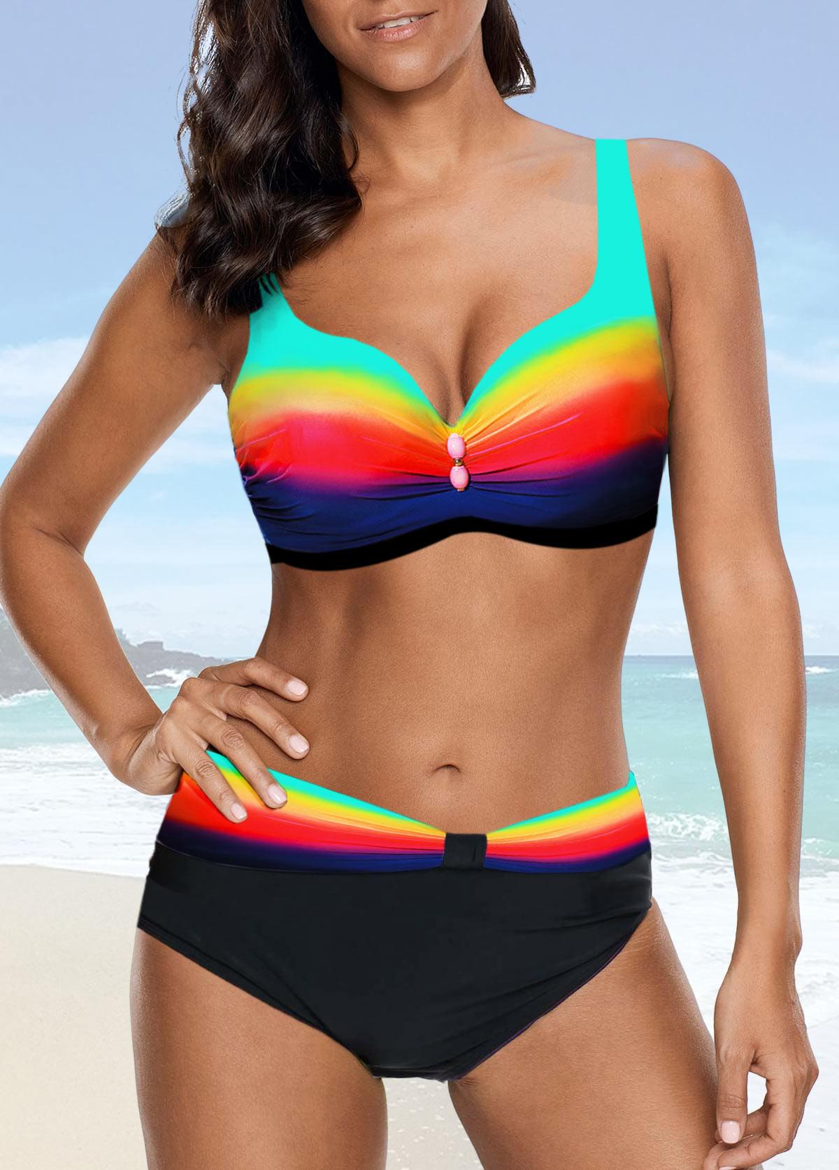 Dazzle Color High Waist Strappy Bikini Set