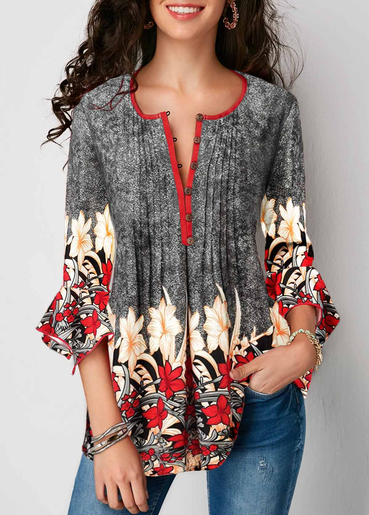 Printed Button Up Pleated Three Quarter Sleeve Blouse