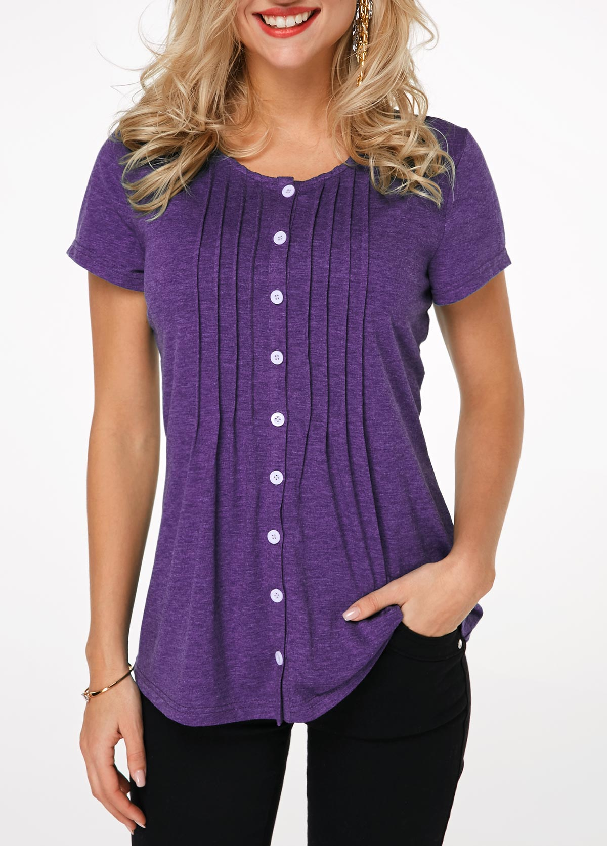 Button Up Pleated Purple T Shirt