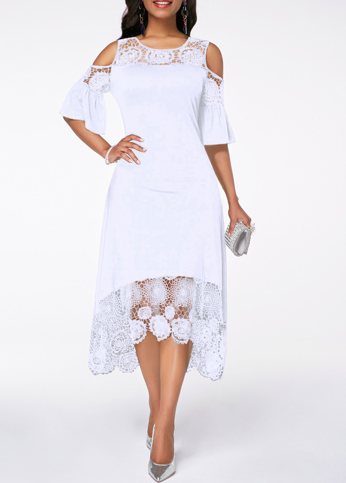White Flare Cuff Lace Panel Cold Shoulder Dress