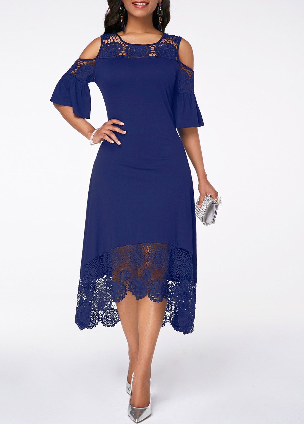 ROTITA Cold Shoulder Flare Cuff Lace Panel Navy Blue Dress