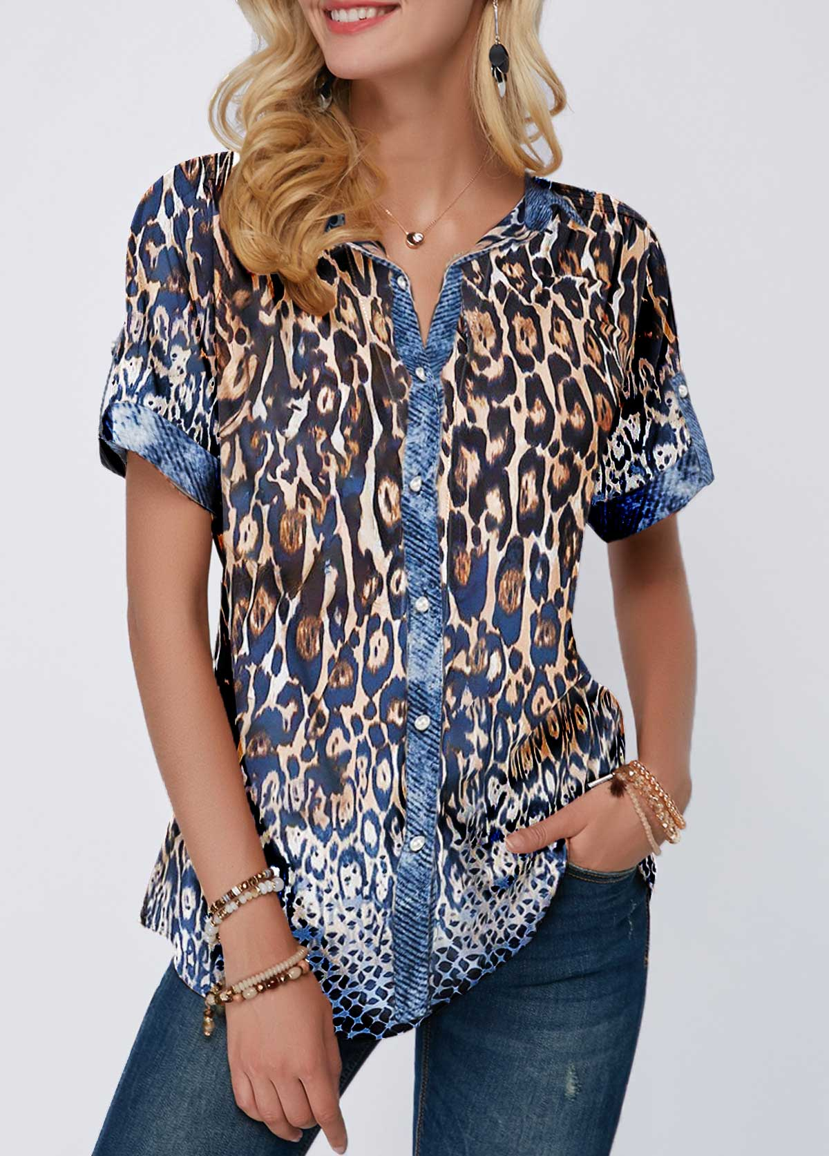 Turndown Collar Button Front Leopard Print Blouse