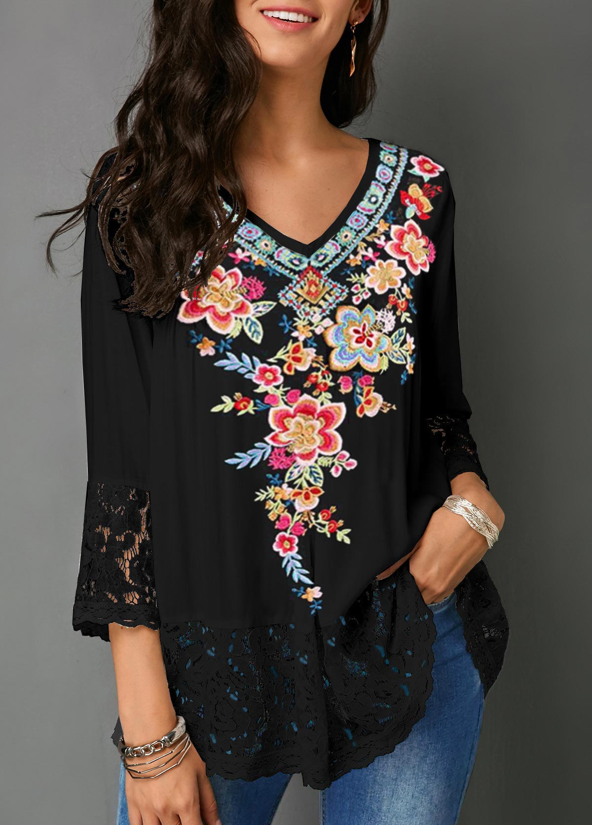Retro Flower Print V Neck Lace Panel Blouse