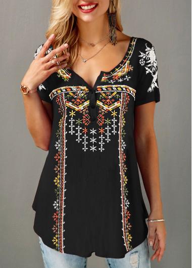 ROTITA Printed Short Sleeve Black Button Front T Shirt