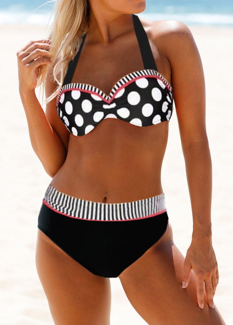 High Waist Strappy Back Dot Print Bikini Set