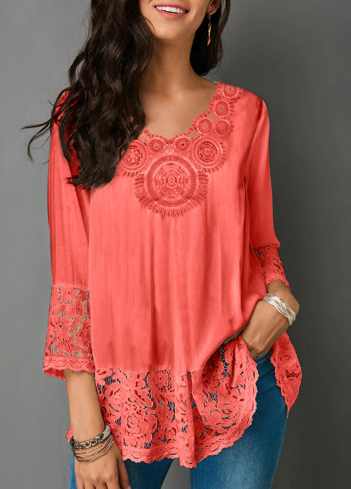 Lace Panel V Neck Three Quarter Sleeve Blouse
