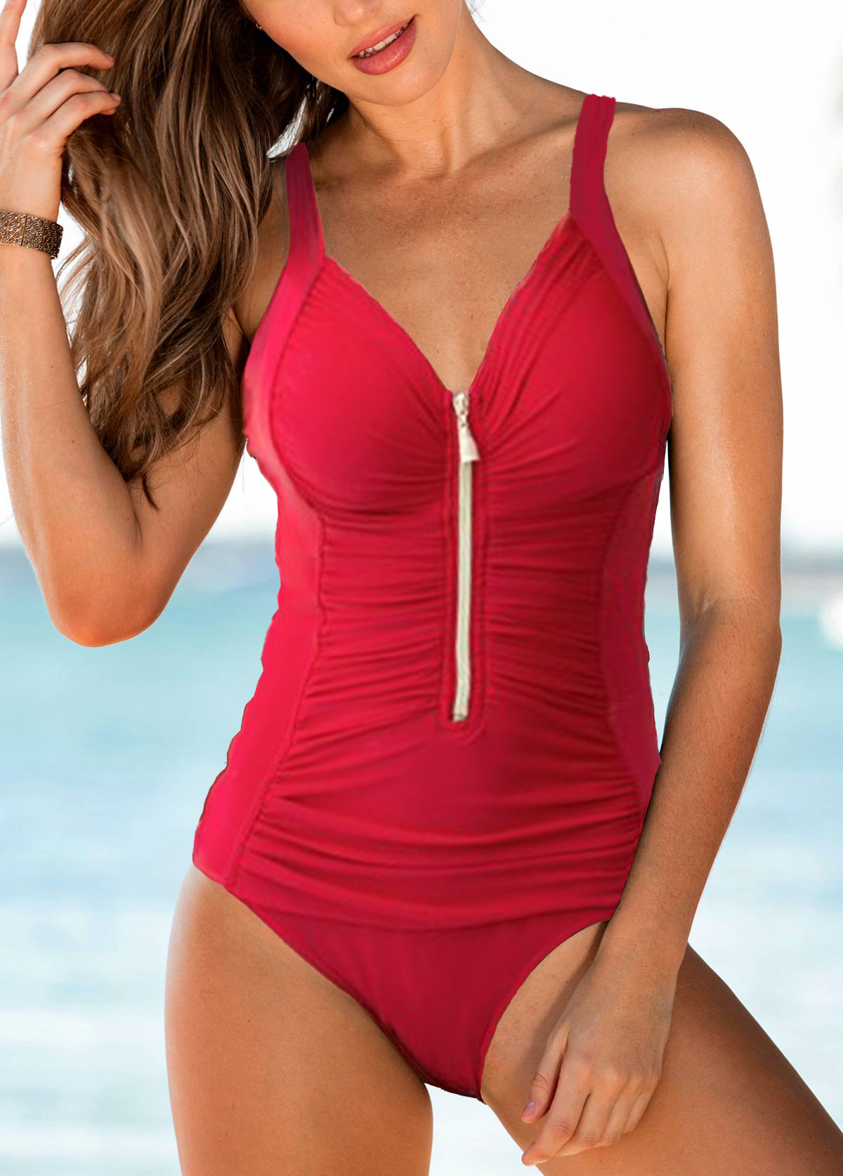 Strappy Ruched Zipper Front One Piece Swimwear