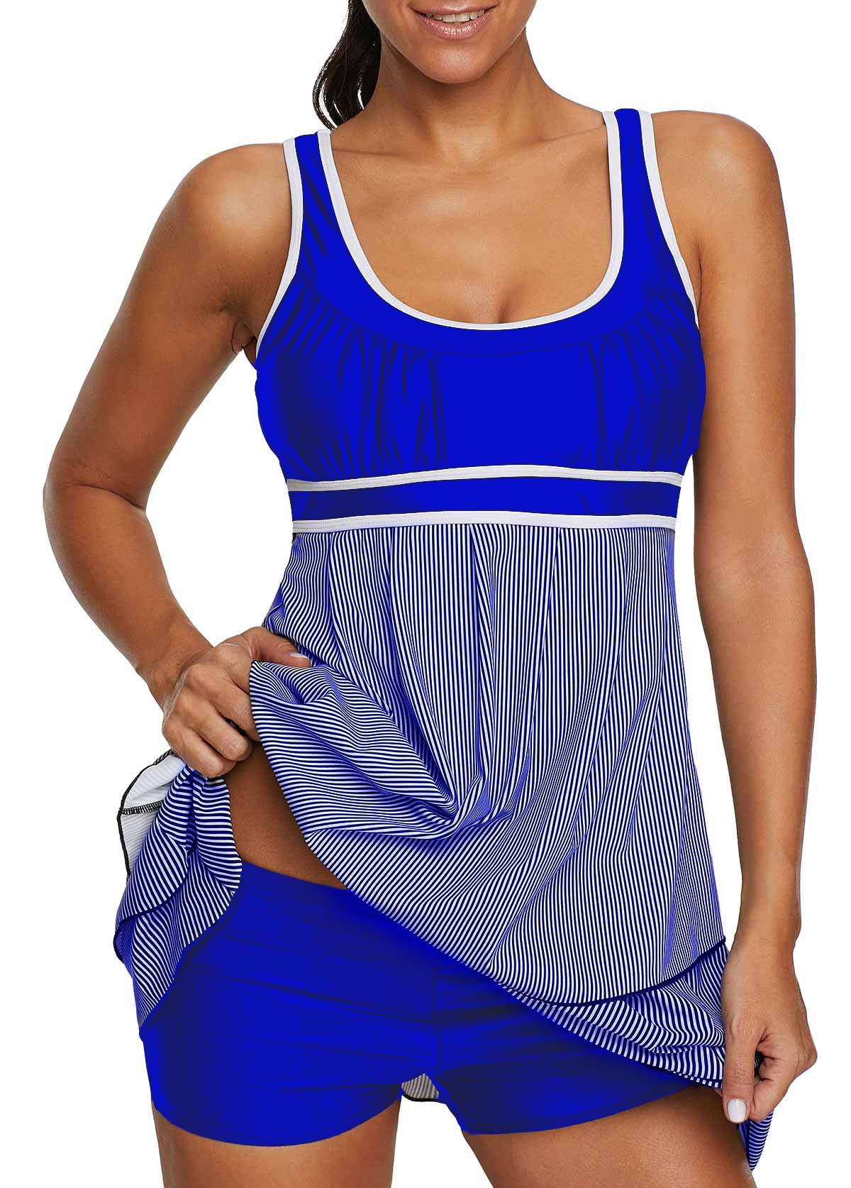 Scoop Neck Layered Royal Blue Swimdress and Shorts