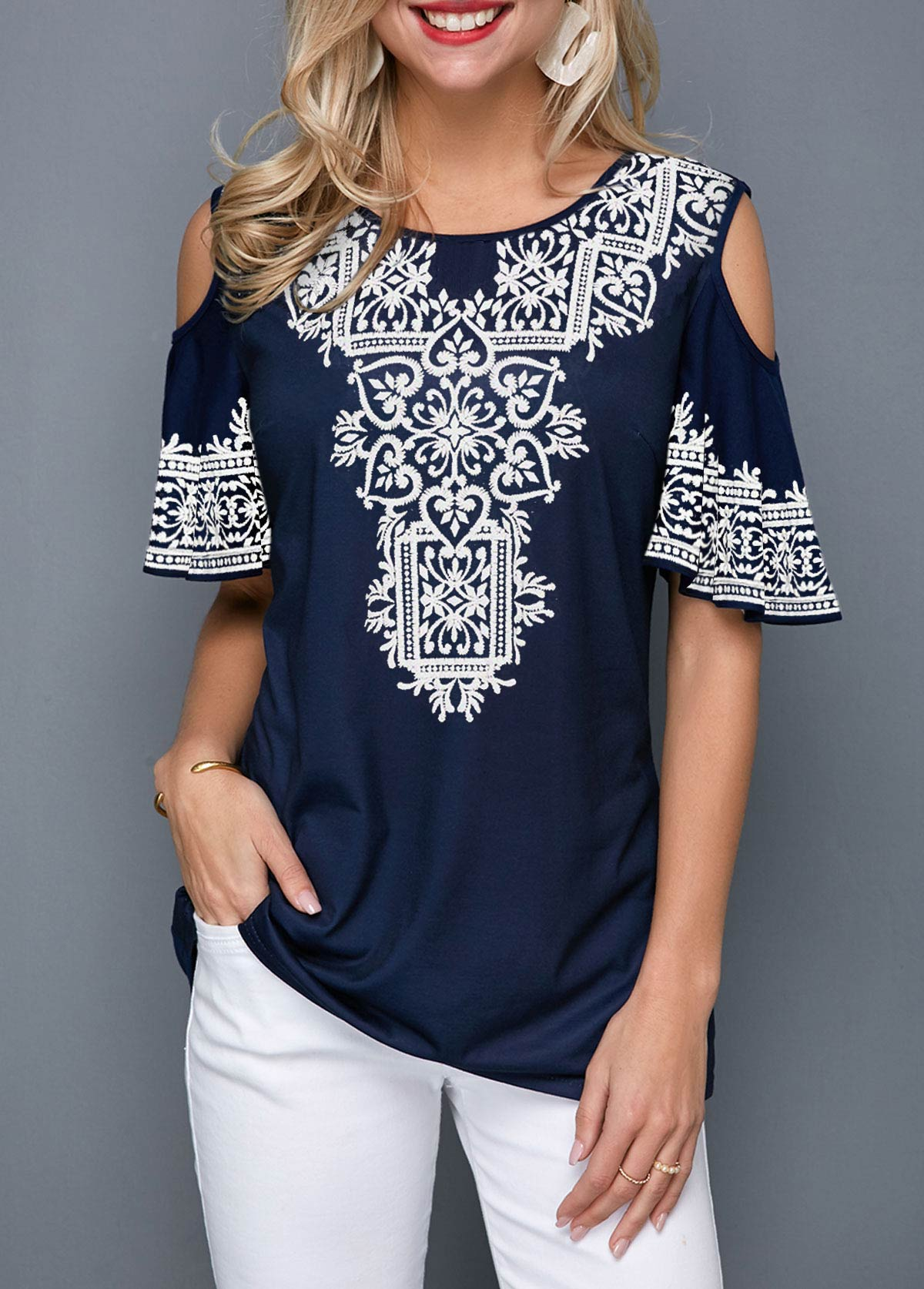 ROTITA Cold Shoulder Retro Print Half Sleeve T Shirt