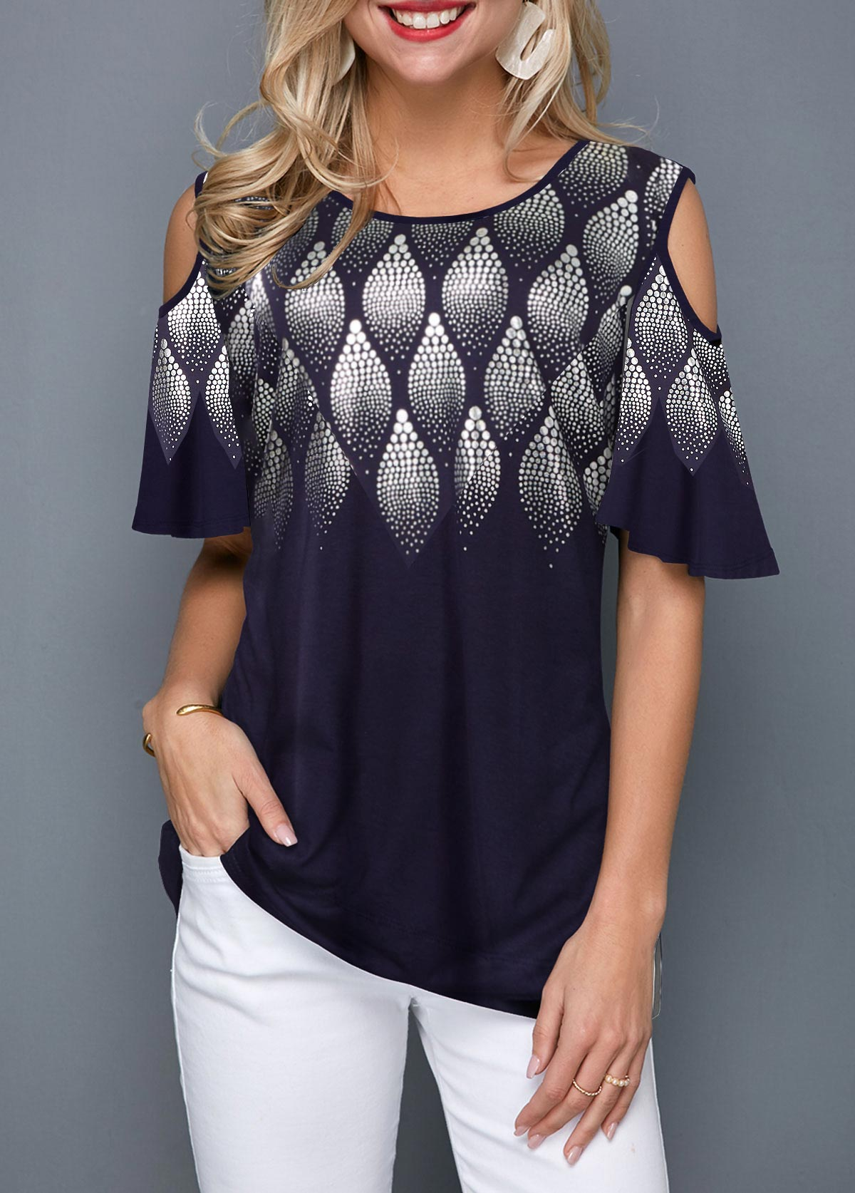 Cold Shoulder Round Neck Printed T Shirt