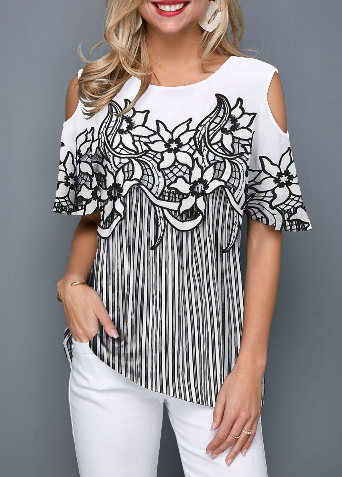 Cold Shoulder Flower Print Striped Blouse