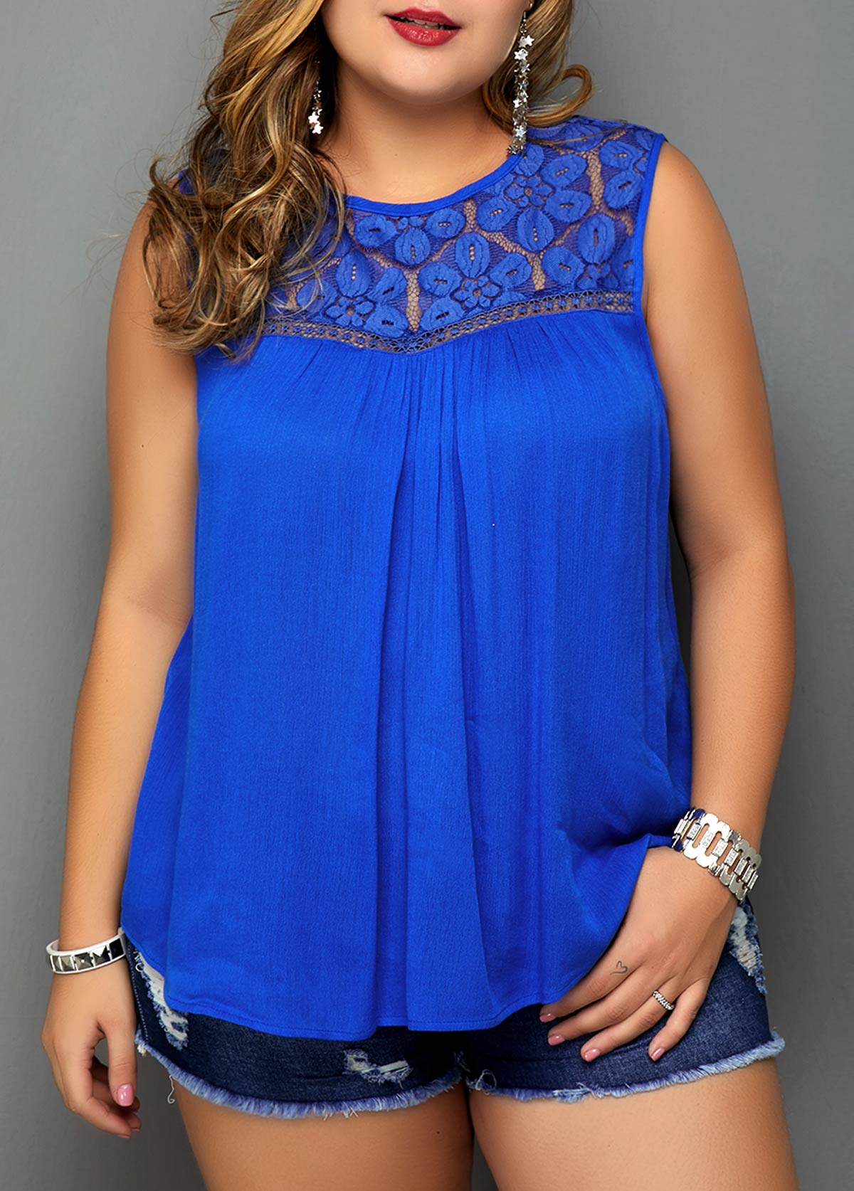 Plus Size Lace Patchwork Royal Blue Blouse