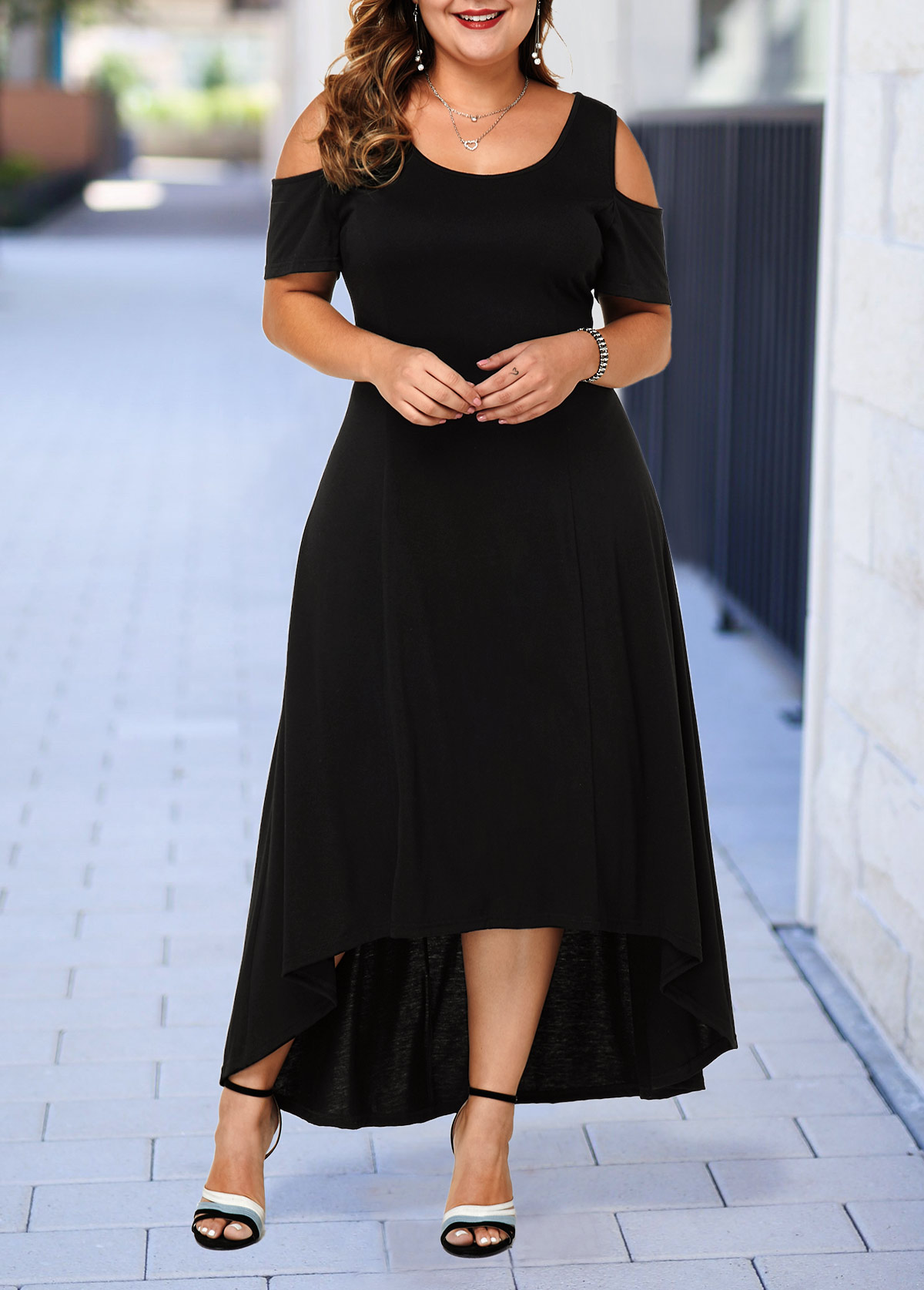 ROTITA Cold Shoulder Plus Size High Low Dress
