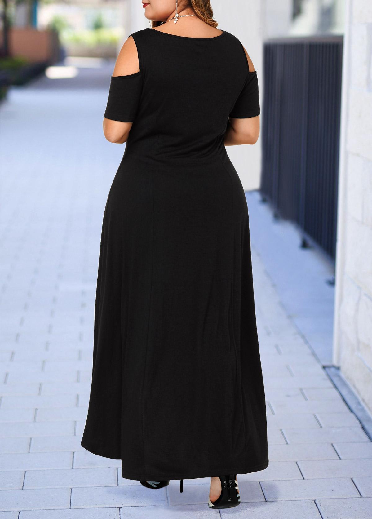 Cold Shoulder Plus Size High Low Dress