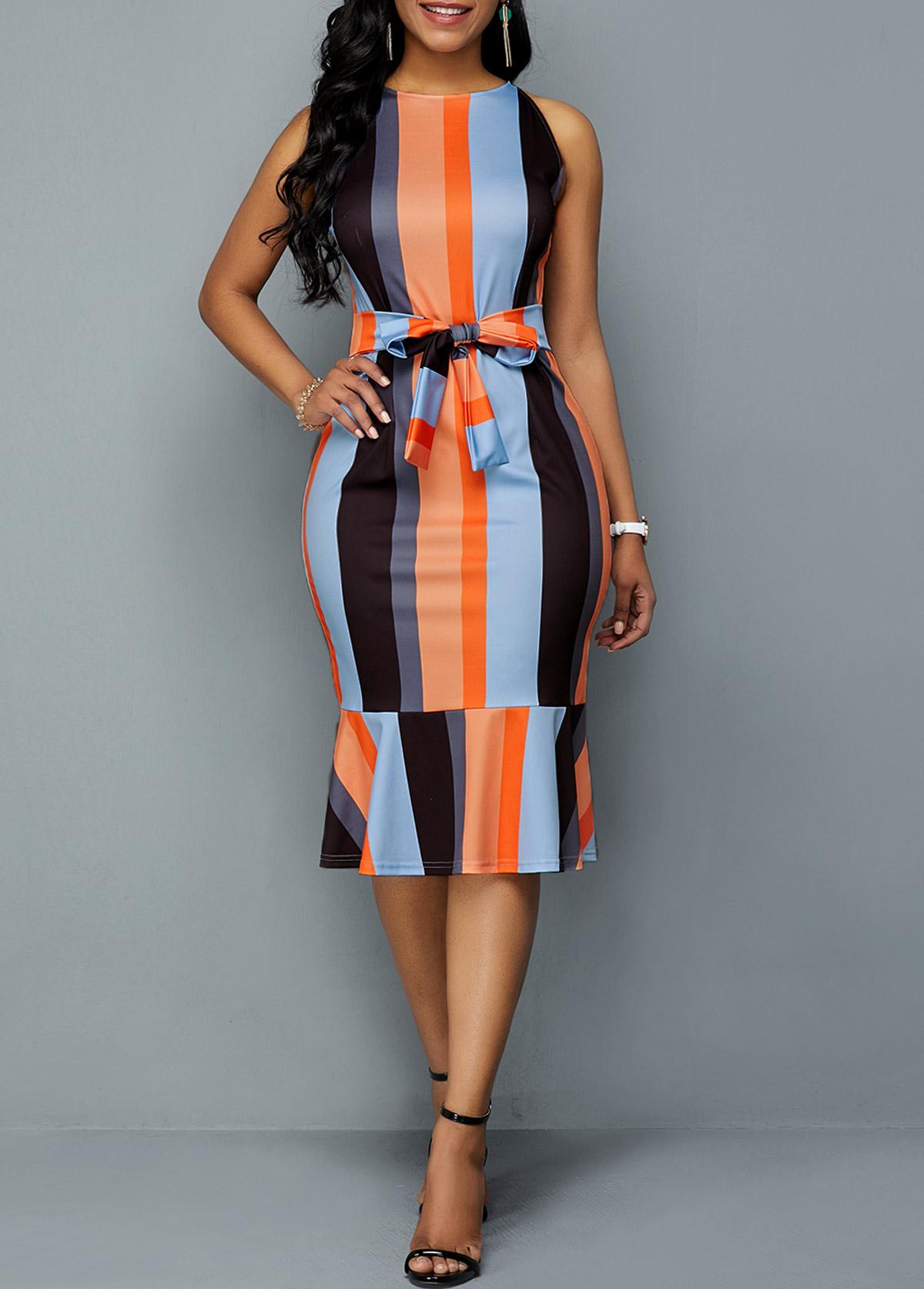 Tie Front Color Block Ruffle Hem Sheath Dress