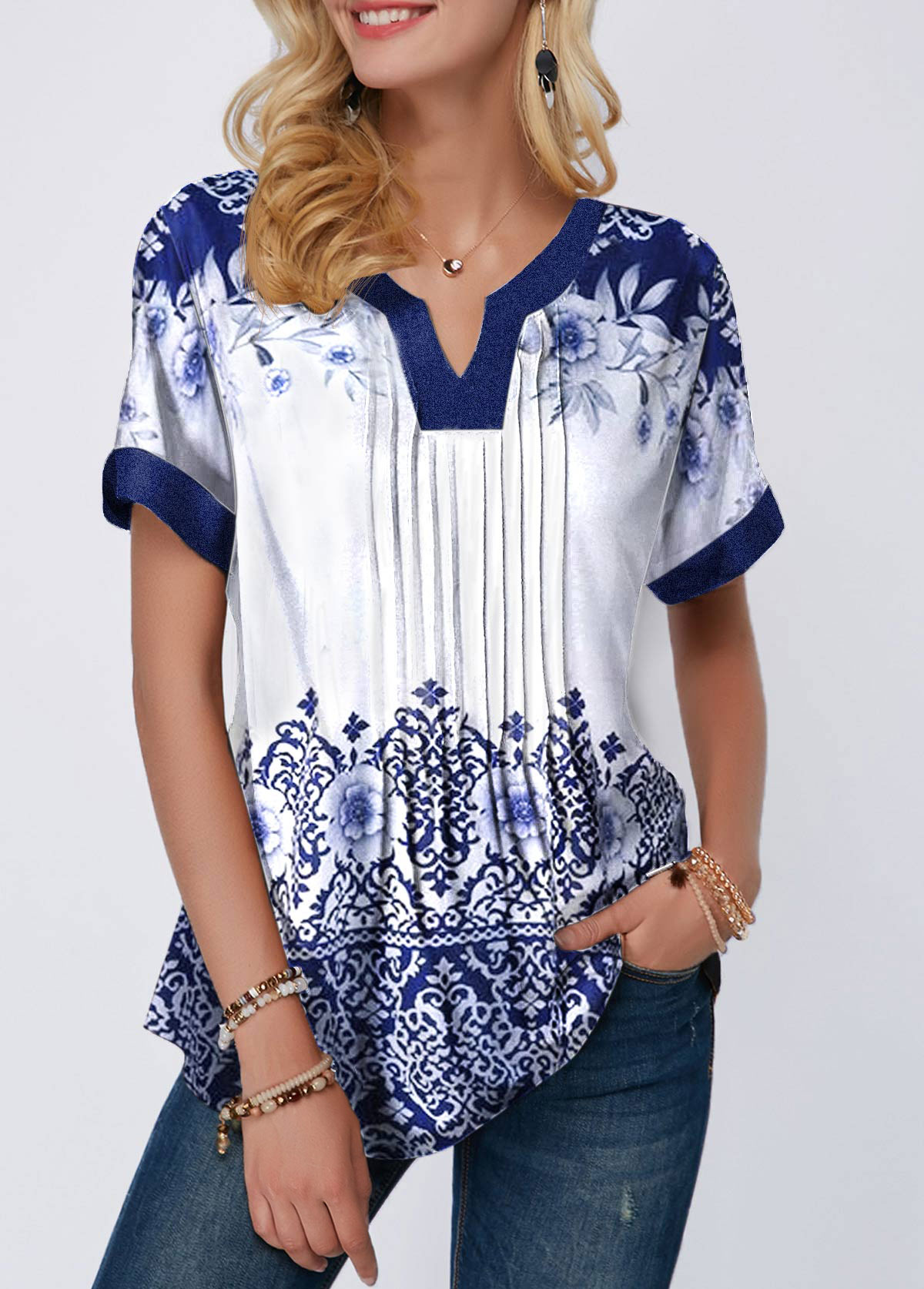 Short Sleeve Retro Print Split Neck Blouse