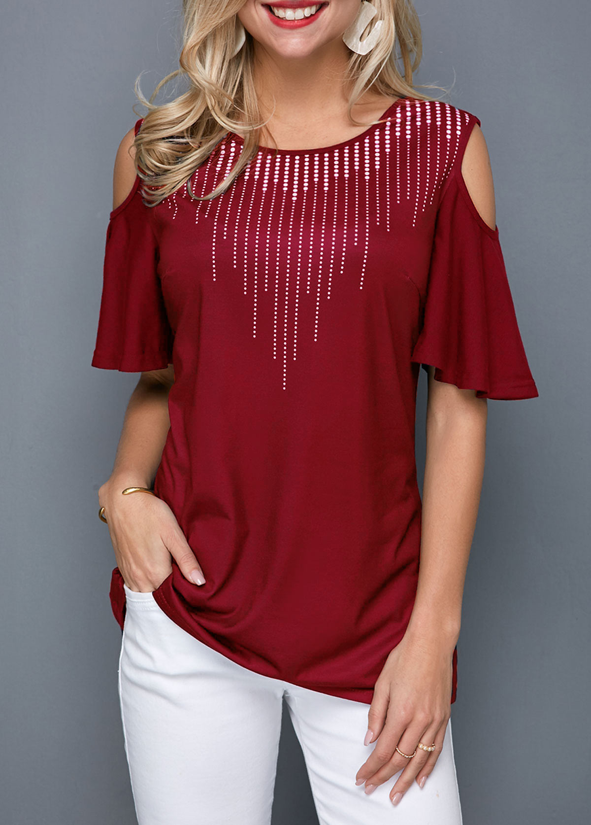 Round Neck Cold Shoulder Half Sleeve T Shirt