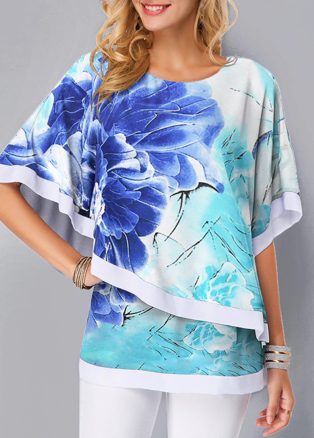 Overlay Embellished Half Sleeve Printed Blouse