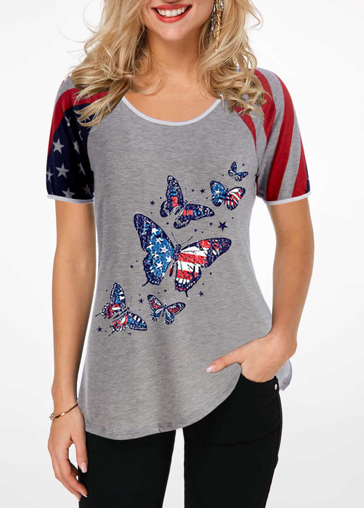 Flag and Butterfly Print Round Neck T Shirt