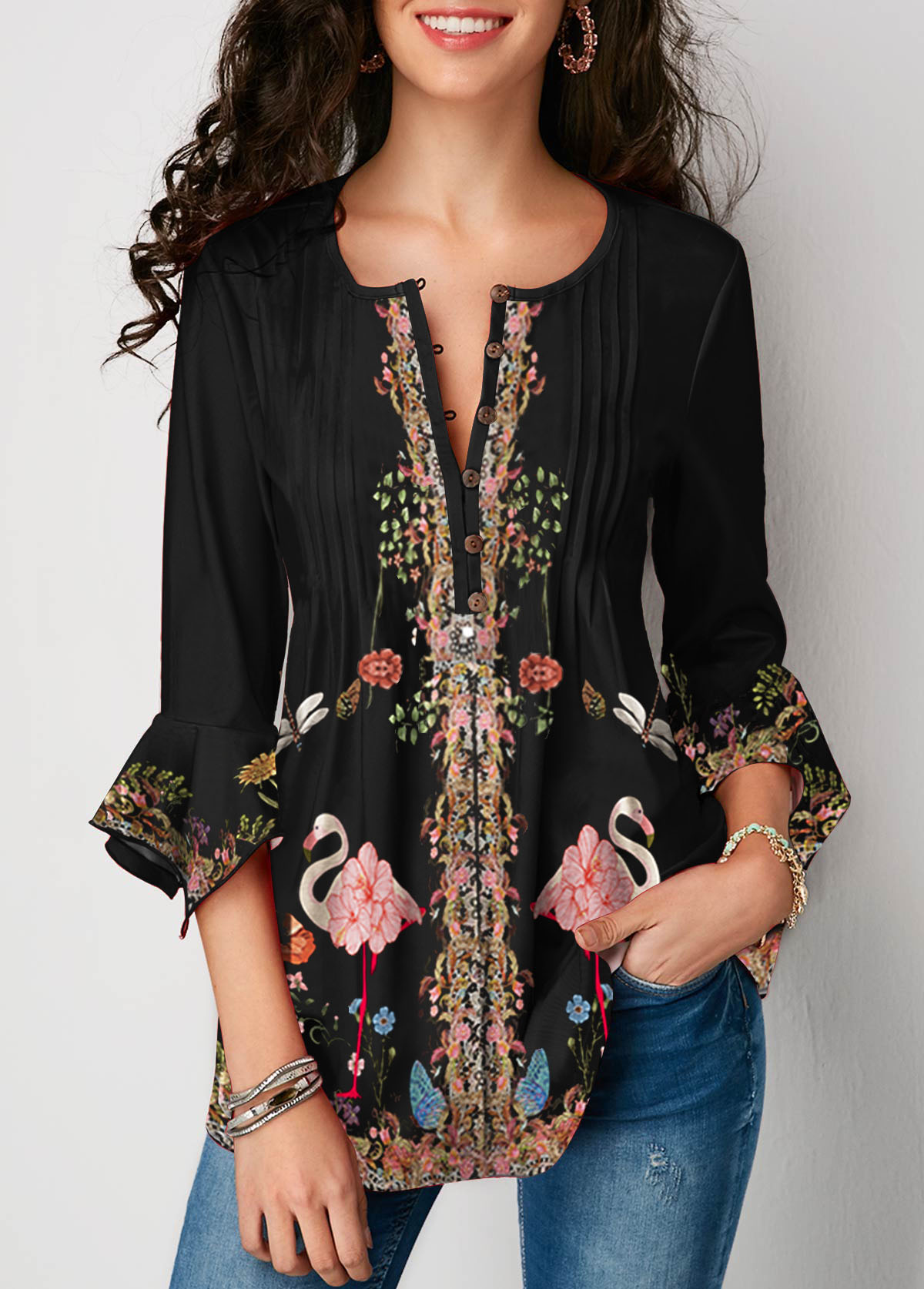 Three Quarter Sleeve Printed Crinkle Chest Blouse