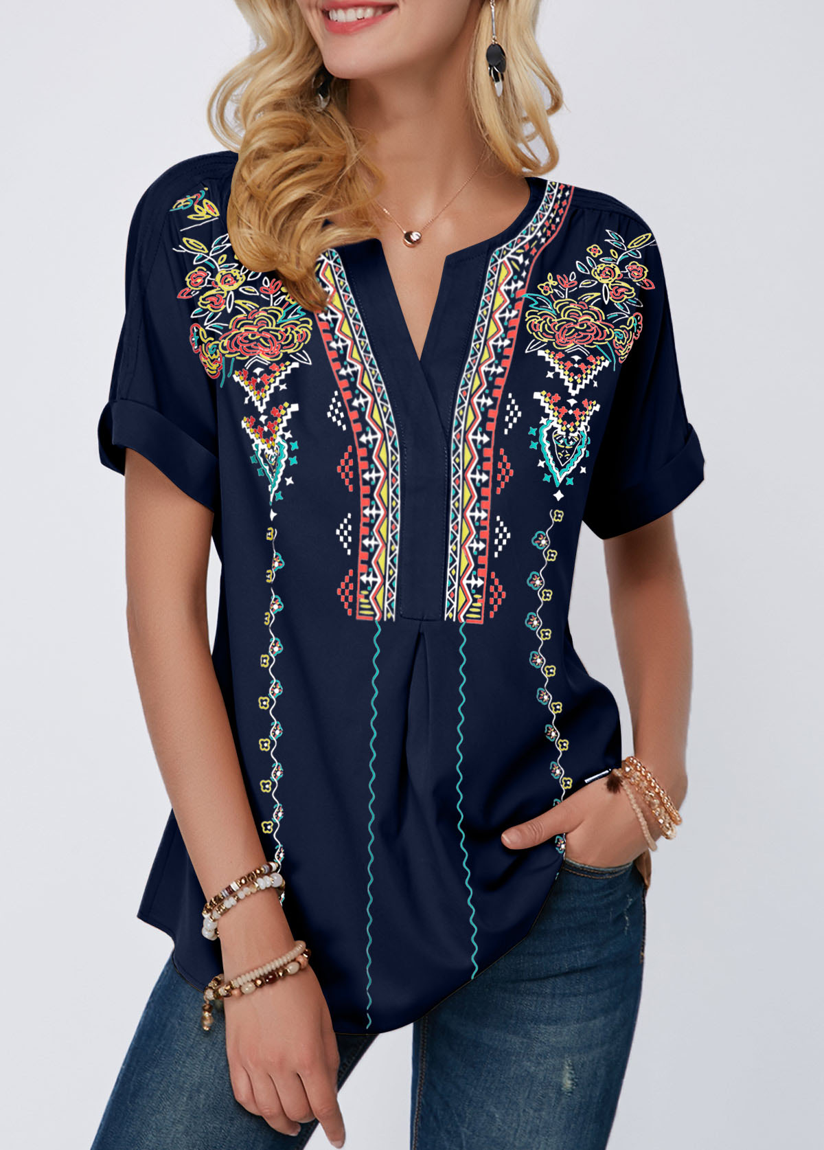 Split Neck Tribal Print Navy Blue Blouse