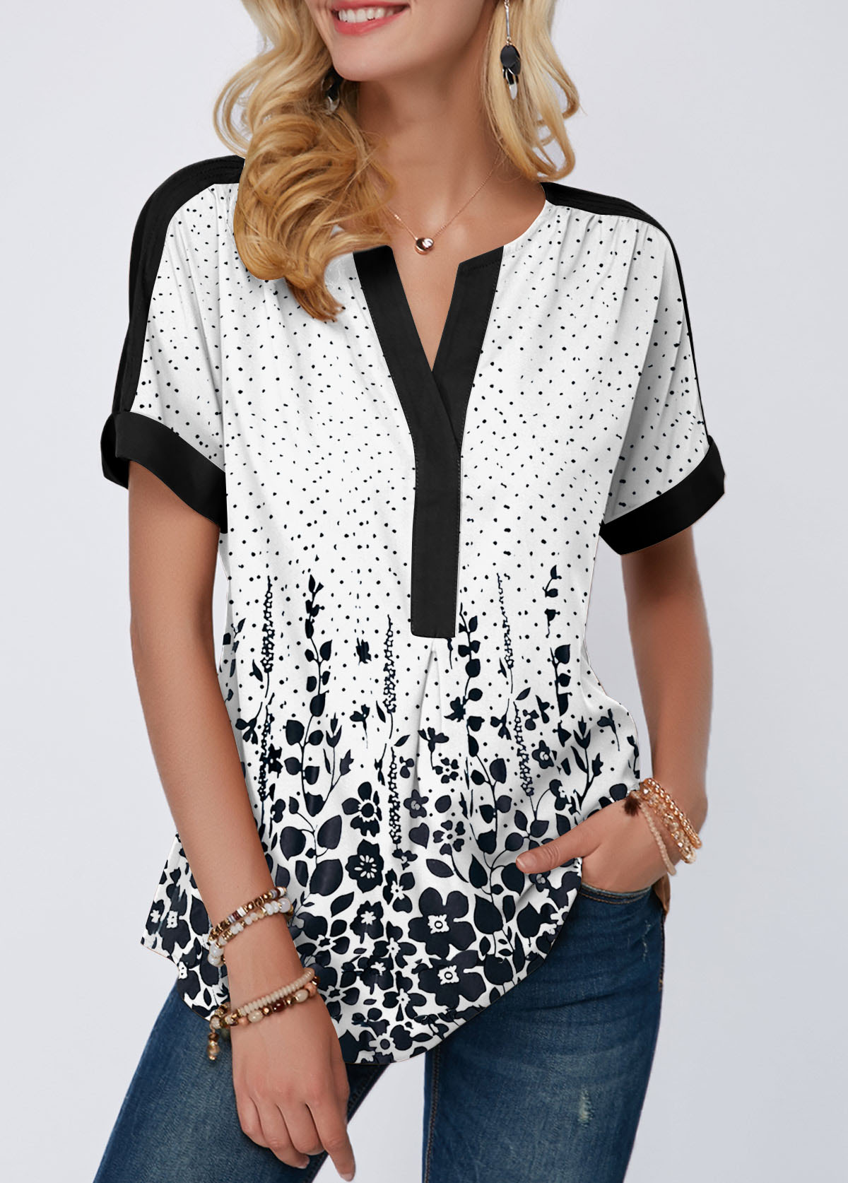 Short Sleeve Split Neck Dot Print Blouse