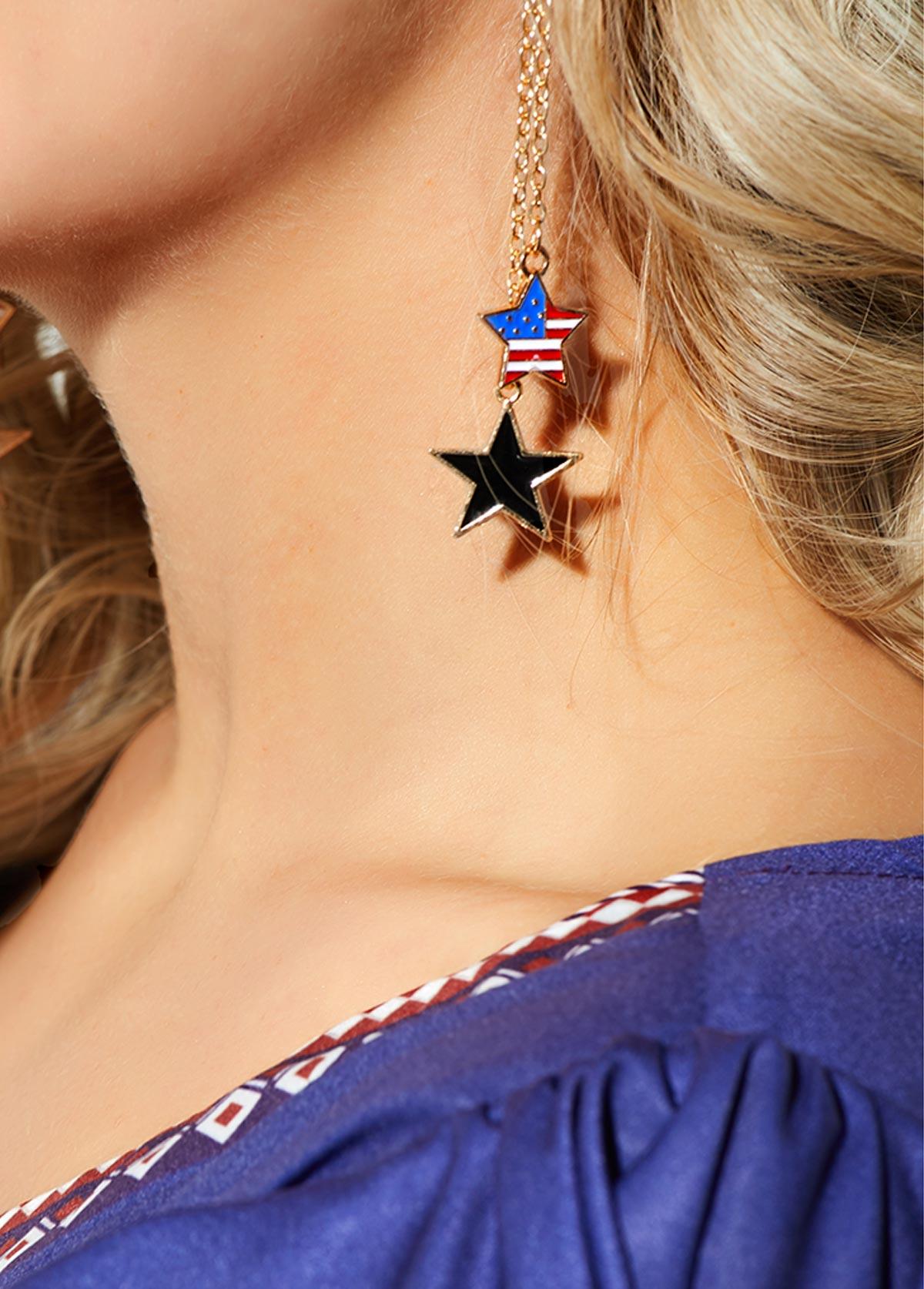 Gold Metal Chain Star Shape Earring for Women