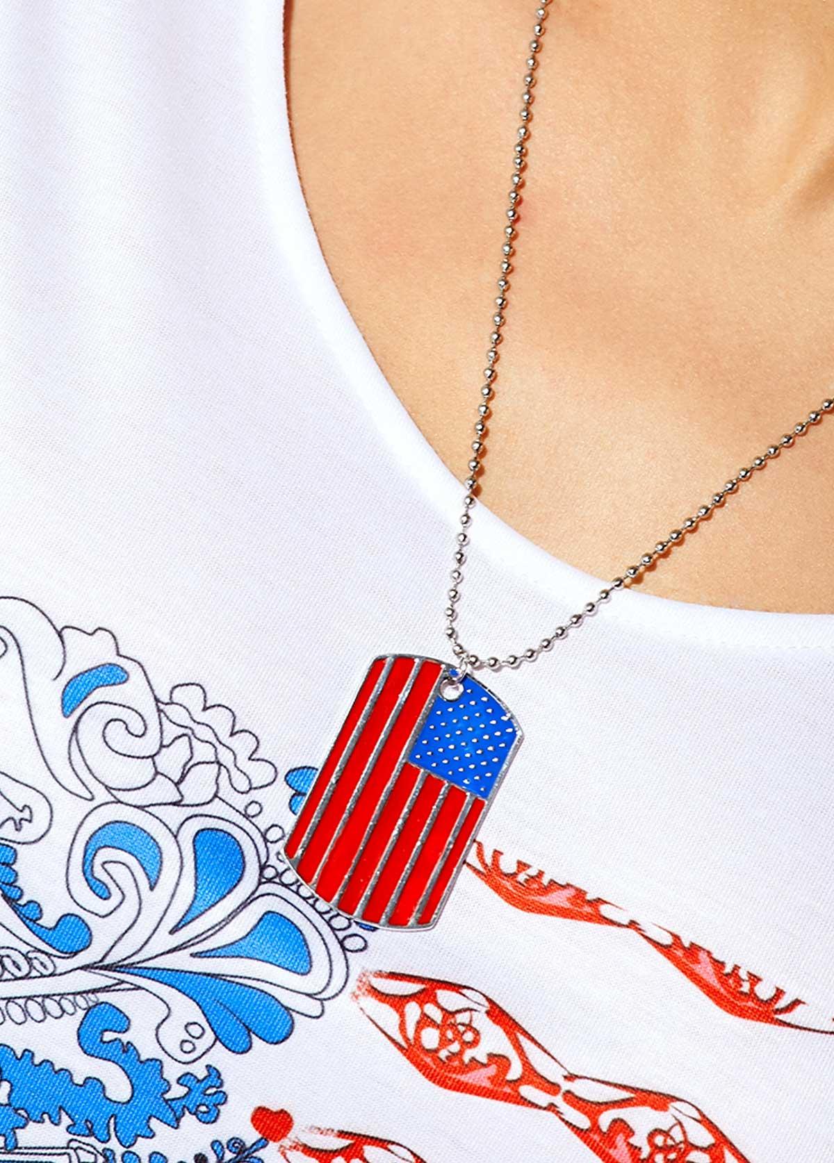 Geometric Shape Stripe Design Metal Necklace