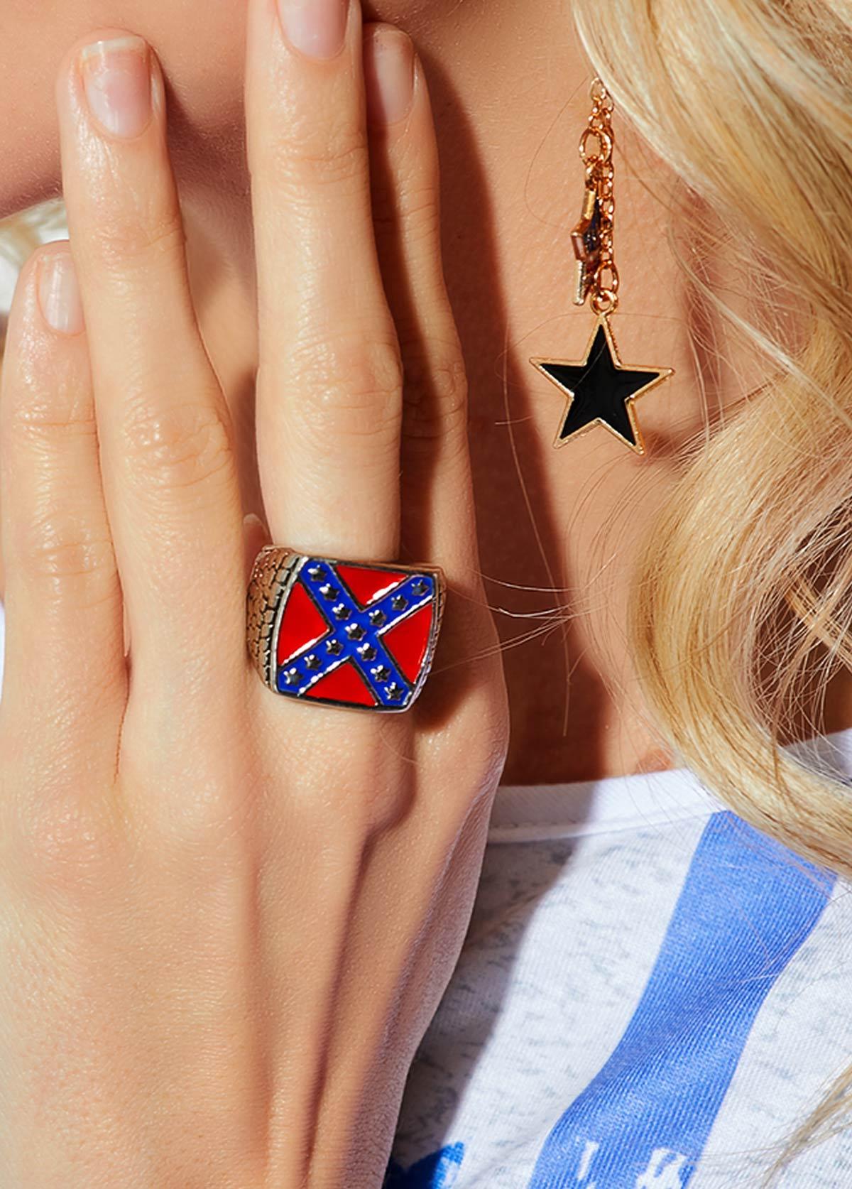 Woman Square Shape Color Block Metal Ring