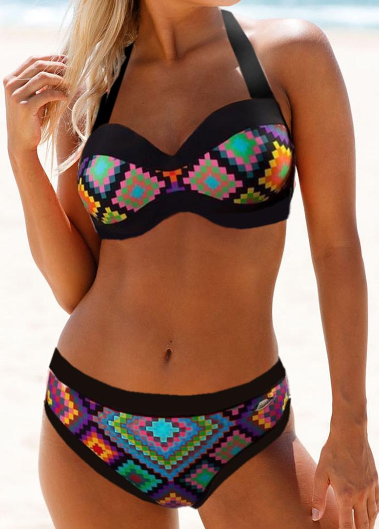 ROTITA Cutout Back Tribal Print Padded Bikini Set