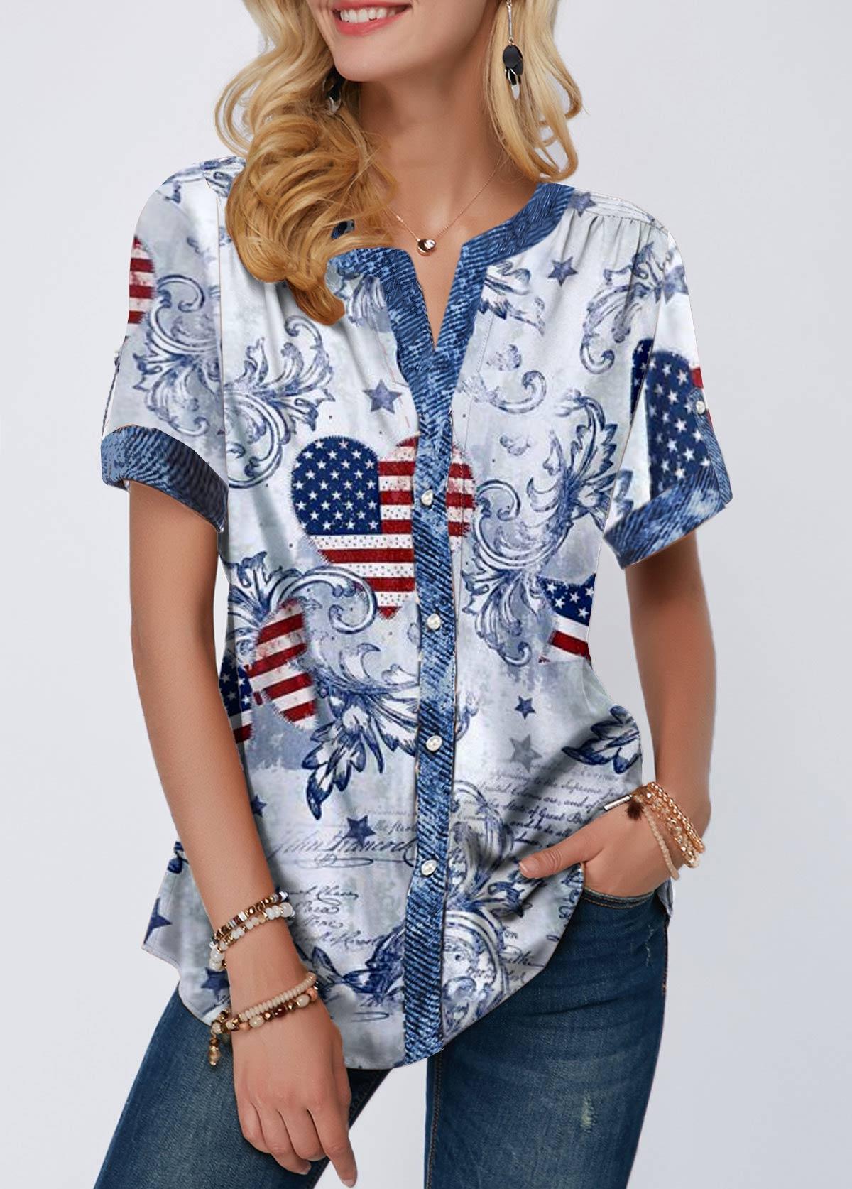 Flag Print Short Sleeve Notch Neck T Shirt