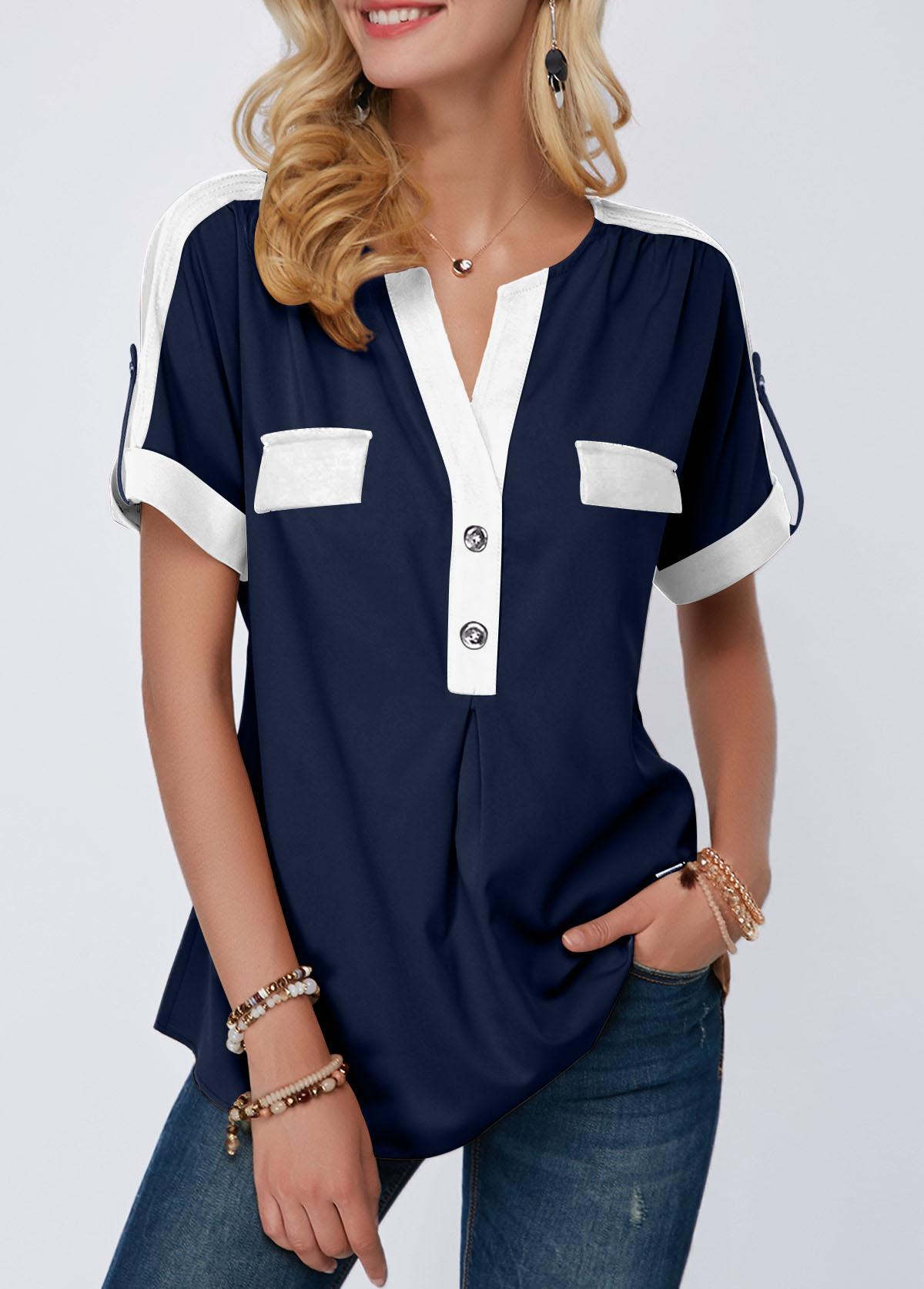 Split Neck Roll Tab Sleeve Navy Blue Blouse