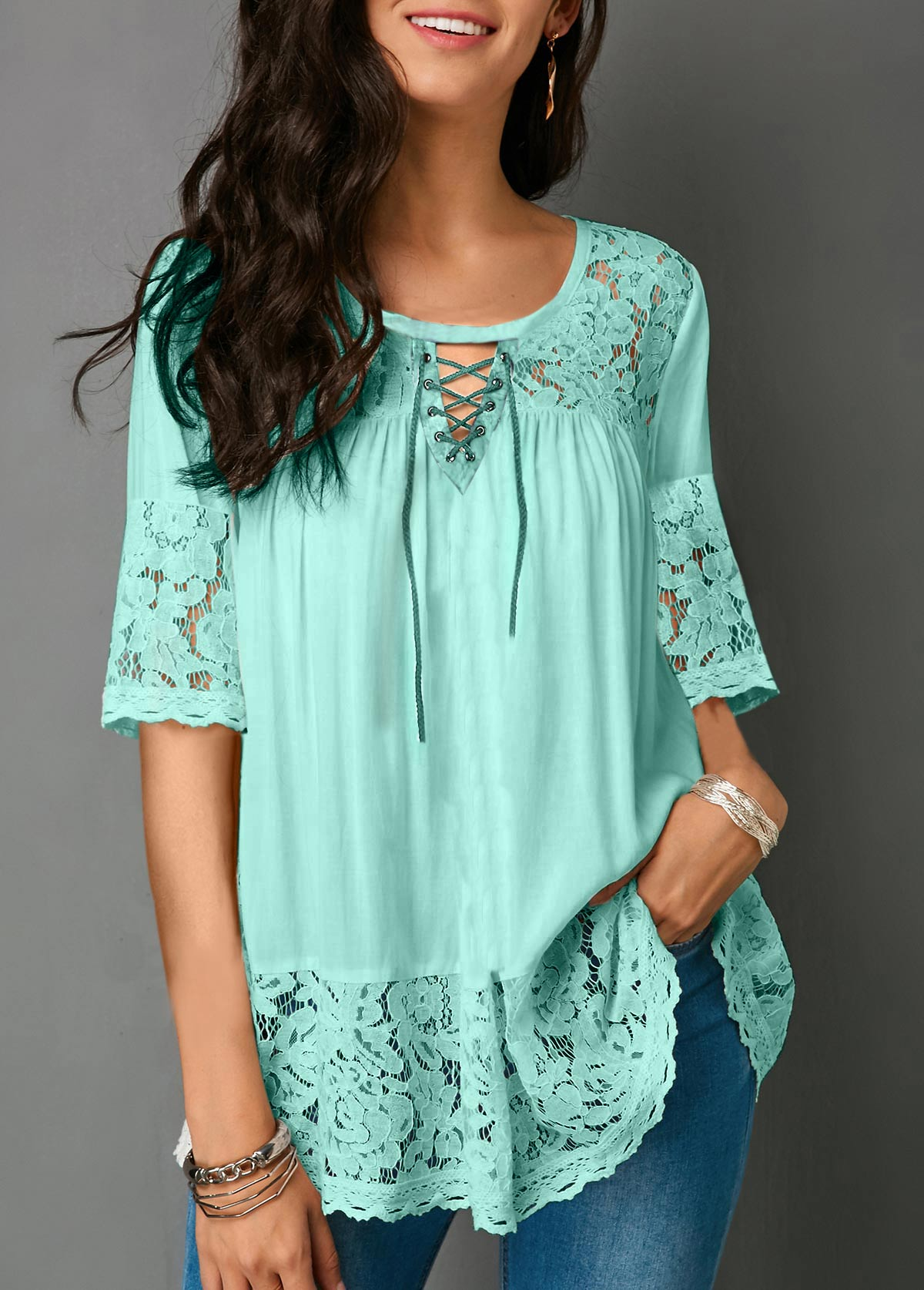 Lace Panel Half Sleeve Cutout Front Blouse