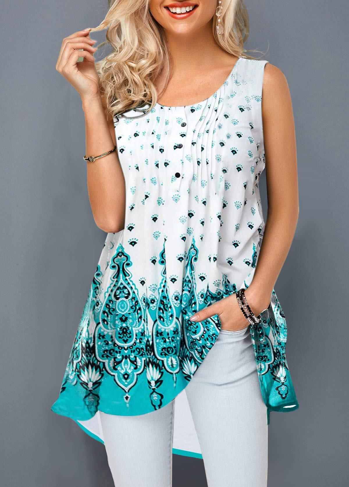 ROTITA Crinkle Chest Sleeveless Round Neck Printed T Shirt